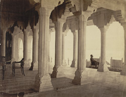 Ajmer - White marble audience hall overlooking Lake Ajmer.
